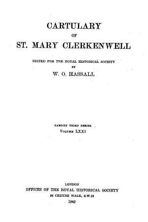 Cartulary of St. Mary Clerkenwell