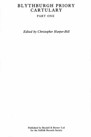 The Cartulary of Blythburgh Priory