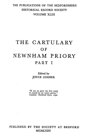 Cartulary of Newnham Priory