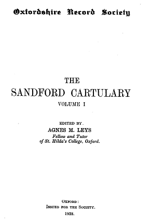 Sandford Cartulary