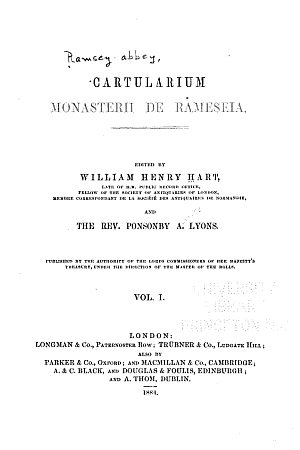 Cartularium monasterii de Rameseia [Ramsey]
