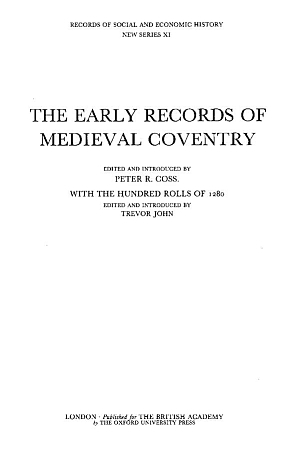 The Early Records of Medieval Coventry