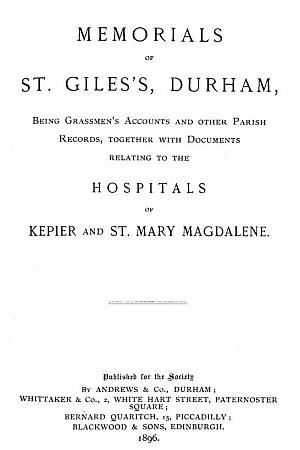 Memorials of St. Giles's, Durham