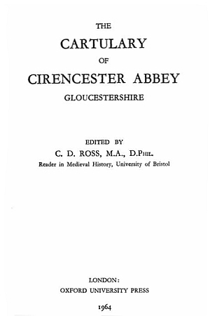 The Cartulary of Cirencester Abbey, Gloucestershire