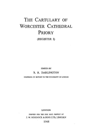 The Cartulary of Worcester Cathedral Priory