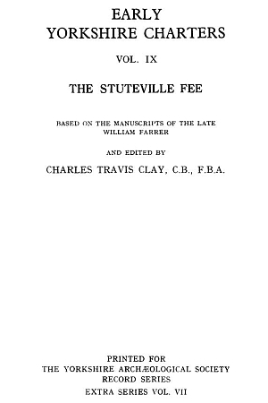 Early Yorkshire Charters, the Stuteville Fee