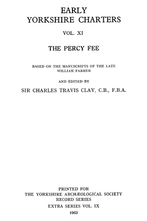 Early Yorkshire Charters, the Percy Fee