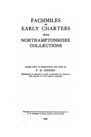 Facsimiles of Early Charters from Northamptonshire Collections