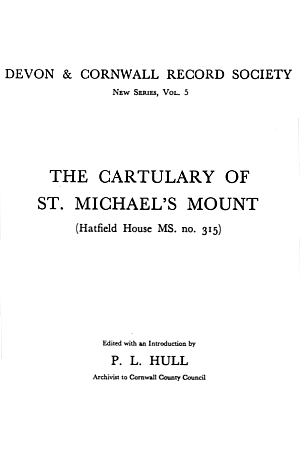 Cartulary of St. Michael's Mount