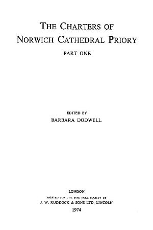Charters of Norwich Cathedral Priory