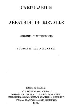 Cartularium Abbathiae de Rievalle [Rievaulx]