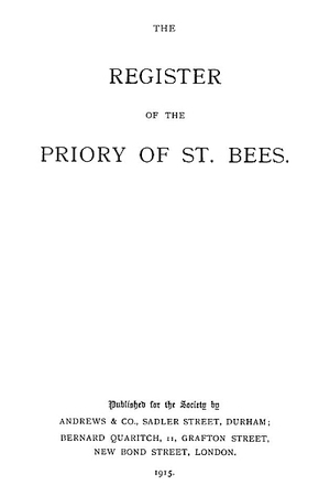 The Register of the Priory of St. Bees