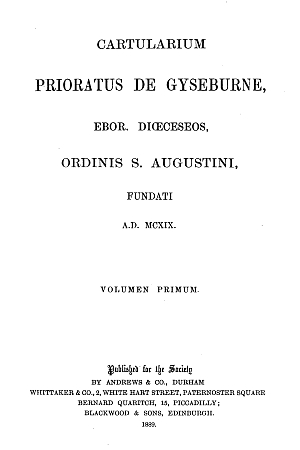 Cartularium Prioratus de Gyseburne [Guisborough]