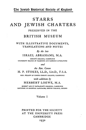 Starrs and Jewish Charters Preserved in the British Museum