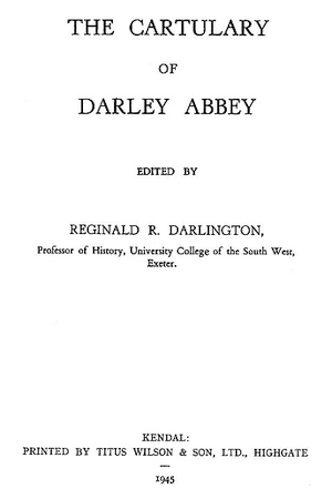 The Cartulary of Darley Abbey