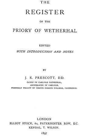 Register of the Priory of Wetherhal