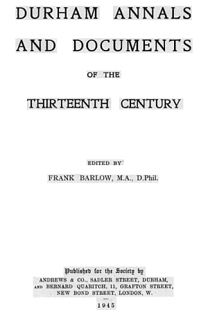 Durham Annals and Documents of the Thirteenth Century