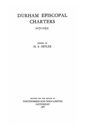 Durham Episcopal Charters 1071-1152