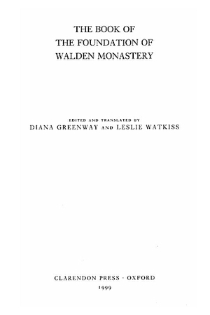 Book of the Foundation of Walden Monastery