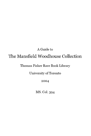 Mansfield Woodhouse Collection
