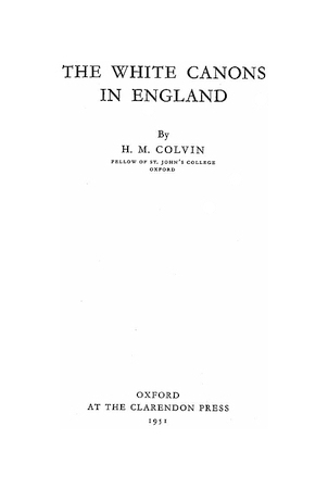The White Canons in England [Newsham]
