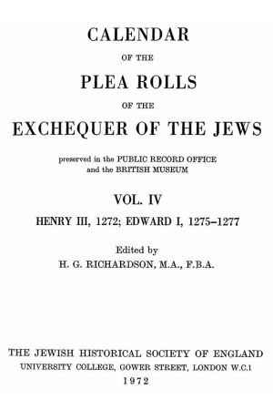 Calendar of the Plea Rolls of the Exchequer of the Jews