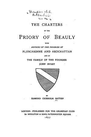 The Charters of the Priory of Beauly