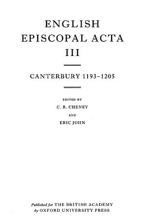Canterbury 1193-1205 Volume 3
