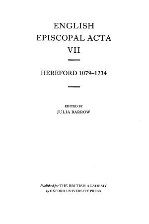 Hereford 1079-1234 Volume 7