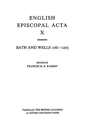 Bath and Wells 1061-1205 Volume 10