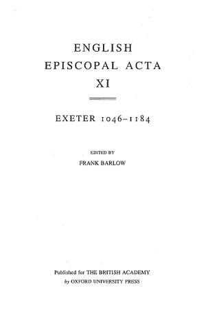 Exeter 1046-1184 Volume 11