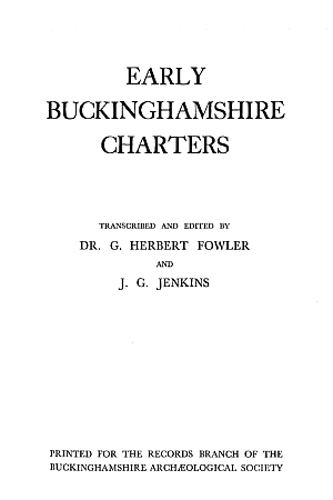 Early Buckinghamshire Charters