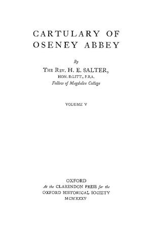 Cartulary of Oseney Abbey