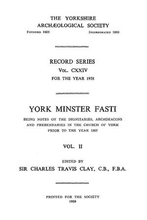 York Minster Fasti