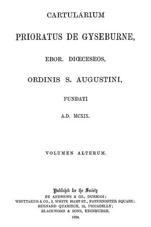 Cartularium Prioratus de Gyseburne [Guisborough]