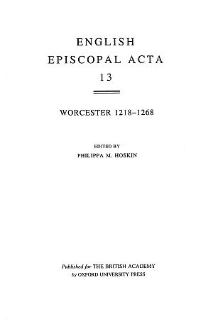 Worcester 1218-1268 Volume 13