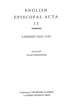 London 1076-1187 Volume 15