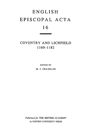 Coventry and Lichfield 1160-1182 Volume 16