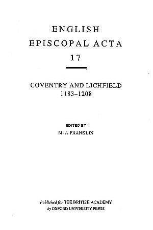Coventry and Lichfield 1183-1208 Volume 17