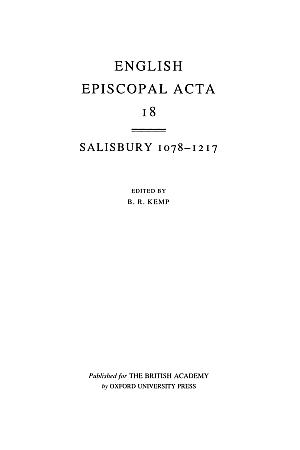 Salisbury 1078-1217 Volume 18