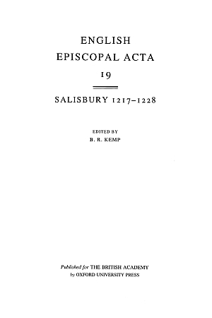Salisbury 1217-1228 Volume 19