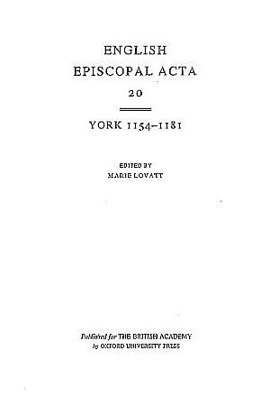 York 1154-1181 Volume 20