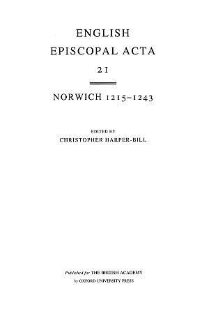 Norwich 1215-1243 Volume 21