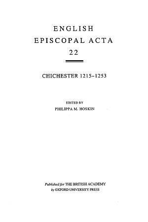 Chichester 1215-1253 Volume 22