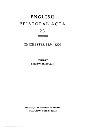 Chichester 1254-1305 Volume 23