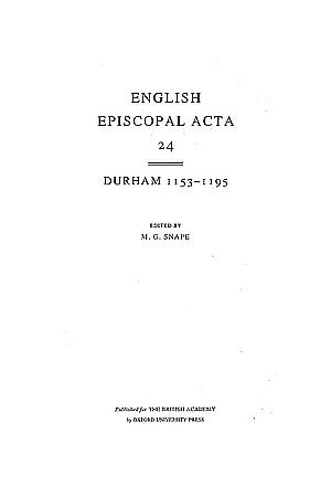 Durham 1153-1195 Volume 24