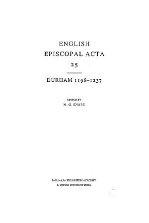 Durham 1196-1237 Volume 25