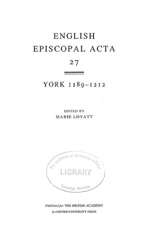 York 1189-1212 Volume 27
