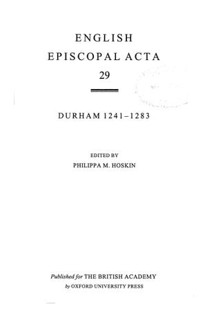 Durham 1241-1283 Volume 29
