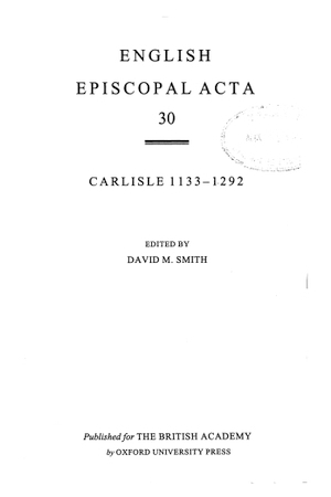 Carlisle 1133-1292 Volume 30